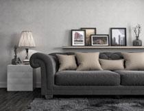 沙发台灯与置物架摄影高清图片