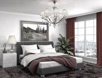 卧室房间绿植与双人床高清图片