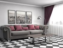 沙发茶几与墙上装饰画高清图片