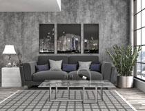 装饰画与绿植沙发摄影高清图片
