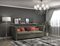 客厅沙发与置物架摄影高清图片