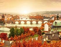 捷克布拉格的黄昏风光摄影图片