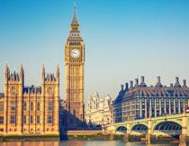 伦敦的伊丽莎白塔摄影高清图片