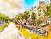城市照片转水彩画艺术效果PS动作
