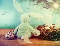 鹌鹑蛋与可爱兔子玩具高清图片