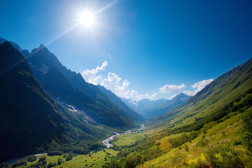 美丽山谷风光鸟瞰摄影高清图片