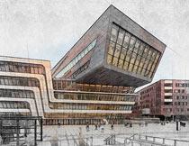 建筑物手绘草图特效PS动作