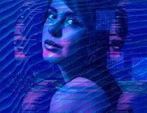 蓝色抽象波纹和纹理特效PS动作