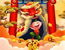 2019福猪贺新年海报设计PSD模板