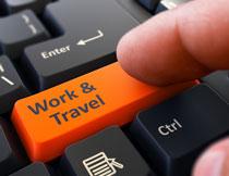橙色键盘按键近景特写高清图片