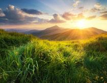 草丛与连绵起伏的山峦高清图片