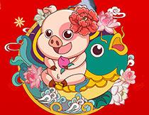 2019猪年大吉宣传单设计PSD素材