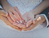 在新娘手中的一对戒指高清图片