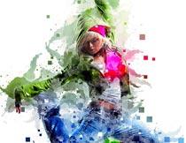 像素格子和油漆喷溅背景PS动作