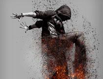 数码照片被焚烧打散特效PS动作