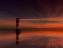 黄昏霞光中的灯塔摄影高清图片