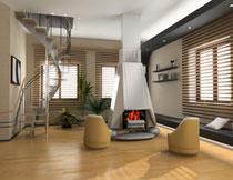 别墅房间沙发壁炉摄影高清图片
