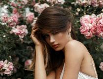 花丛边的白裙美女摄影高清图片