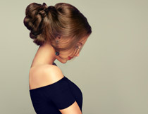 盘发发型美女侧面摄影高清图片