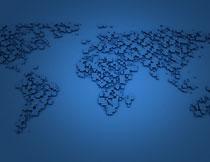 立体方块元素世界地图创意图片