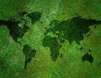 草地上的世界地图创意高清图片
