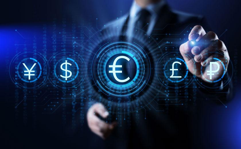 光效手势与金融符号等创意图片