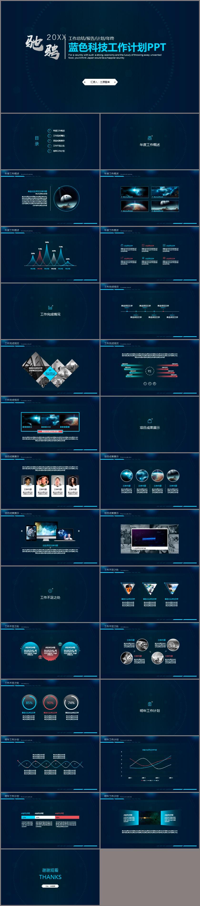 蓝色科技主题工作计划PPT模板