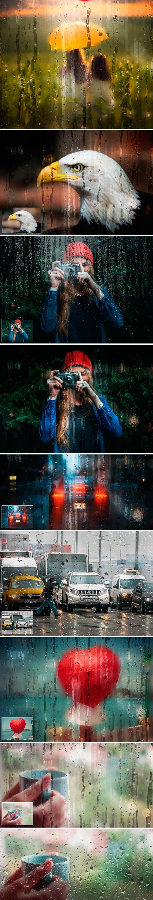 雨天玻璃后特效PS中文动作