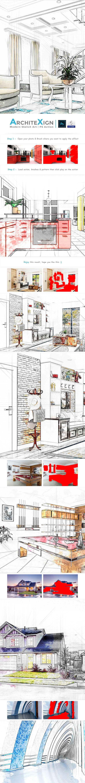 室内建筑手绘草图效果PS动作