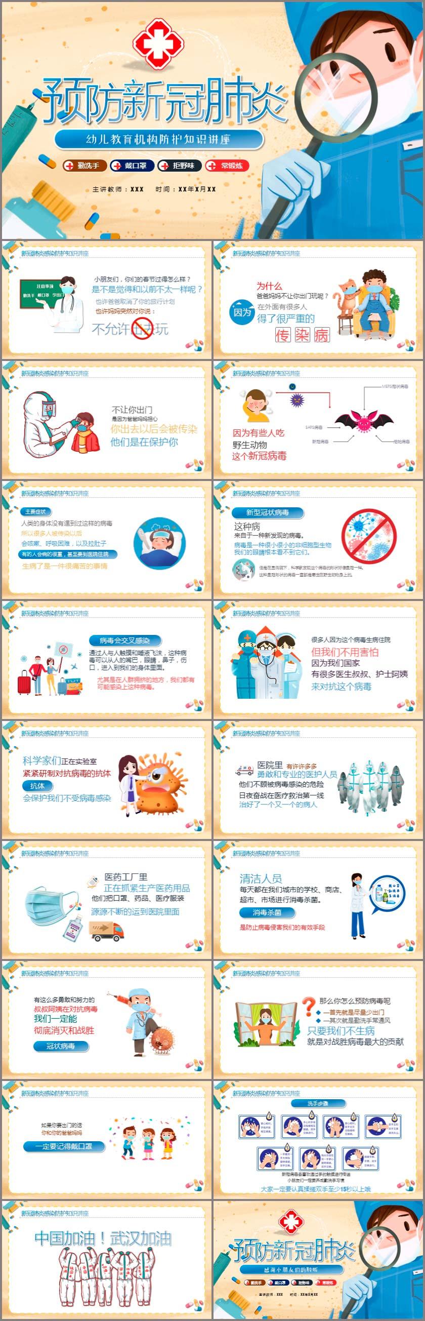 幼儿教育机构疫情防护知识讲座PPT模板